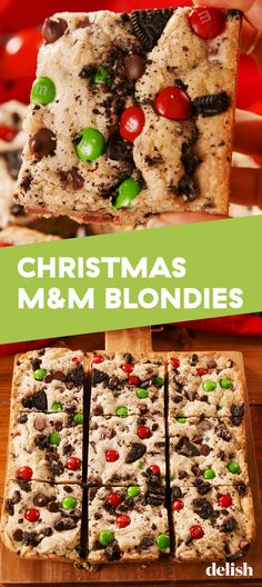 Christmas M&M Blondies are the best holiday cookie ever. Get the recipe at Delish.com. #delish #easy #recipe #christmas #holiday #blondies #candy #mm #chocolate #baking #sweettreats #treats #giftideas