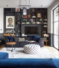 Gray living room ideas - how to get this shade right | Livingetc Living Room Bar, Dark Living Rooms, Living Area, Living Room Designs, Rock N Roll Living Room, Small Living, Gravity Home, Appartement Design, Style Deco