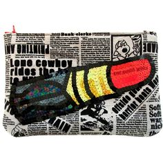 Blood red newspaper lipstick clutch with sequin applique detail and other apparel, accessories and trends. Browse and shop 8 related looks.