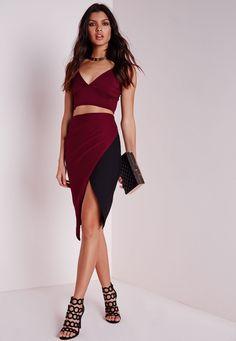 Missguided - Contrast Wrap Midi Skirt Burgundy/Black