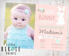 BUNNY BIRTHDAY INVITATION First Birthday Party Invitation Country Chic Easter Party Some Bunny Is turning One Pink Mint Flowers Easter