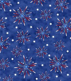 Holiday Inspirations Fabric-Fireworks On Blue Glitter