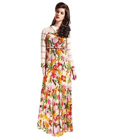 Samor Georgette Multicolor Floral Print Ruffled Dress With A Ruched Yoke And An Organza Yoke And Sleeves Teamed With A Belt Ruffle Dress, Floral Prints, Sleeves, Stuff To Buy, Shopping, Dresses, Fashion, Vestidos, Moda