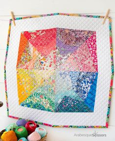 Liberty Rainbow Mini Quilt - a lovely spring rainbow of Liberty Colorful Quilts, Liberty Fabric, Mug Rugs, Mini Quilts, Table Toppers, Arabesque, Scissors, Eye Candy, Quilting