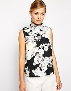 ASOS Sleeveless High Neck in Mono Floral