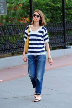 It's wide stripes and a boxy cut for Sofia Coppola. #refinery29 http://www.refinery29.com/celebrity-denim-outfits#slide-24