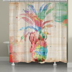 Brighten your bathroom decor with this colorful watercolor-style design! The pineapple is set on a textured background designed to look like a wooden board and features splashes of paint for a unique