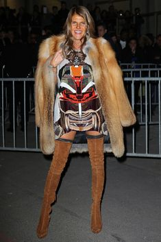Anna Dello Russo smolders in a tribal influenced Givenchy look. #PFW #AdR