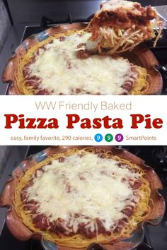 MyWW Recipe: Skinny Pizza Pasta Pie is a family favorite make-ahead dish w/ pizza & pasta flavors in a lasagna-like casserole, 290 calories, 9 SmartPoints! Ww Recipes, Cooking Recipes, Healthy Recipes, Healthy Food, Dinner Recipes, Healthy Meals, Healthy Eating, Skinny Pizza, Pasta Pie