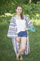 """Boho-Chic"" Kimono jacket in Aztec Geometric pattern"