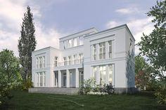 Klassizistischer Flügelbau, überdachter Sommersitz und Aussichtsbalkon