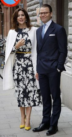 Crown Princess Mary of Denmark and Prince Daniel of Sweden visit Karolinska University Hospital in Stockholm.