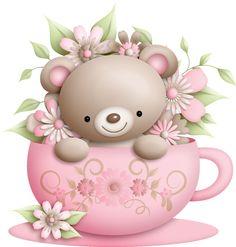 Cute Illustrations - Cup and Teddy with Flowers Decoration PNG Clipart.