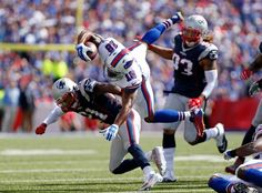 NFL: New England Patriots at Buffalo Bills   -   Sep 20, 2015; Orchard Park, NY, USA; Buffalo Bills wide receiver Percy Harvin (18) is tackled by New England Patriots cornerback Malcolm Butler (21) during the first half at Ralph Wilson Stadium. Mandatory Credit: Kevin Hoffman-USA TODAY Sports
