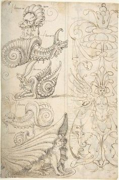 Flemish Grotesque Creatures and a Candelabra Grotesque (recto); Candelabra Grotesques with Mask (verso) Poster Print by attributed to Andrés de Melgar (18 x 24)