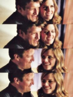 """Nathan Fillion: """"Stana, you have a really neat trick that says, 'I'm into you.' You'll be looking in my eyes and then all of a sudden, you'll look at my mouth and then look back at my eyes. It's just a little quick flick, and it starts everyone's hearts thumping."""" Stana Katic: """"I wasn't aware I did that!"""""""