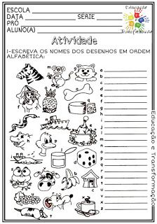 Atividades Escolares: Ordem alfabética Education, Rotary, Reading Activities, Math Practices, Cursive Letters, Writing Activities, Classroom, Animaux, Onderwijs