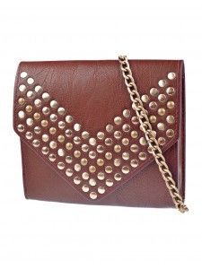 Tote your belongings around in style, fold them into this envelope-style studded bag!