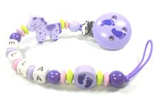 Schnullerkette mit Namen • Schmetterling Glitzer • lila flieder • Baby Mädchen