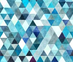 indigo watercolor triangles // oversized fabric by ivieclothco on Spoonflower - custom fabric