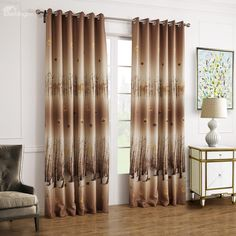 Fantastic Brown Leaves And Forest Printing Custom Curtain - beddinginn.com