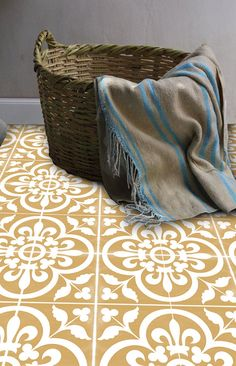 Vinyl Floor Tile Sticker - Floor decals - Carreaux Ciment Encaustic Corona Tile Sticker Pack in Golden