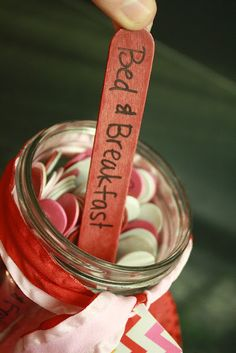 "Married people should still date each other :) Date night jar made with color coded popsicle sticks. Red = $$$ and planning required. Pink = minimal $ and spontaneous. White = Stay at home date. Cute ideas included!! This is one of the best ""date jars"" I have seen. This would be cute for a wedding shower idea."
