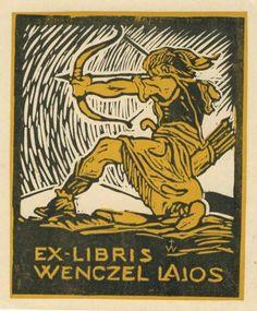 Art Deco ex libris by an unidentified (European) artist | #exlibris #bookplate