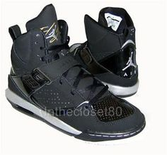 NIKE AIR JORDAN FLIGHT 45 GS HI PREMIUM WOMENS GIRLS TRAINERS BLACK/SILVER/GOLD
