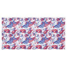 Birds Hearts Flowers Vintage Floral Landscape Cotton Linen Tablecloth 60