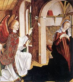 Annunciation / Anunciación (From St Lawrence Altarpiece )// 1465-1470 // Michael Pacher // Alte Pinakothek, Munich // #Mary #Gabriel