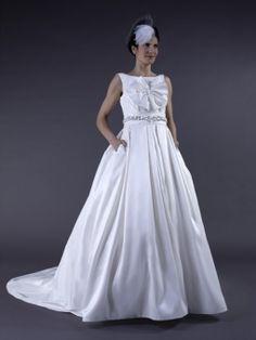 Vita-Robe de Mariée en Taffetas avec Fleurs