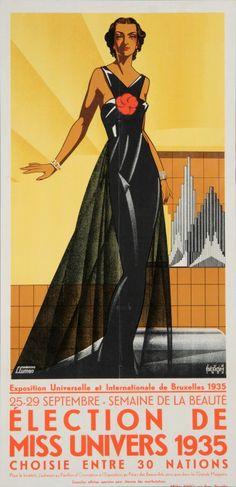 Election Miss Universe by J.D.V Bergh (Belgium, 1935)