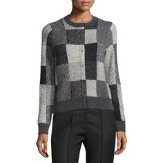 Marc Jacobs Intarsia Faux-Placket Patchwork Sweater ($495) ❤ liked on Polyvore featuring tops, sweaters, grey, women's apparel sweaters, pullover sweaters, cut out sweater, cashmere crew neck sweater, grey crew neck sweater and crew sweater