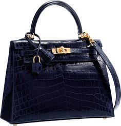 fcd26982d689 Hermès 25cm Shiny Blue Marine Nilo Crocodile Sellier Kelly Bag with Gold  Hardware. Hermes Kelly