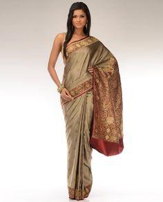 Antique Gold Benarasi Sari with Woven Borders - Exclusively In