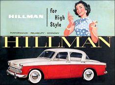 Promotional artwork for the Hillman Car. A product of the Rootes Group - Promotional artwork for the Hillman Car. A product of the Rootes Group. Coventry Transport Museum, Transport Images, Car Posters, Poster Ads, Car Brochure, Vintage Cars, Vintage Auto, Vintage Ideas, Car Advertising