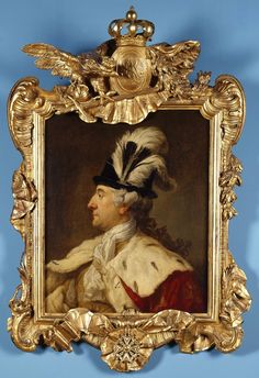 Portrait of Stanislaus Augustus Poniatowski in a feathered hat by Marcello Bacciarelli, 1780 (PD-art/old), Muzeum Narodowe w Warszawie (MNW), painting in the original frame from about 1780