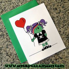 zombie girl valentine greeting cards, notecards, thank you notes.  custom personalized - set of 10 handmade by OnCupcakeMoon