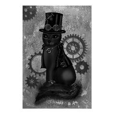 Shop Steampunk Cat Postcard created by PeziCreation. Stretched Canvas Prints, Canvas Art Prints, Steampunk Cat, Steampunk Fashion, Fantasy Posters, Hipster Art, Kindle Case, Cat Posters, Cool Cats