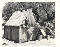 Private Erickson in his homemade shelter in North Africa which he built using boards taken from food boxes. Types Of Armor, North African Campaign, Bataan, Italian Army, Treehouses, Hiroshima, History Facts, Military History, Us Army