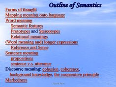 Outline of Semantics