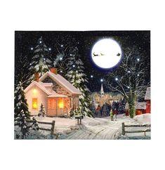 Een fraaie Kerst Schilderij met LED verlichting. #kerstdecoratie #kerst #ledcanvas #schilderij