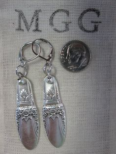 First Love Pattern Lever Back Pierced Earrings of Upcycled Silverware Handles