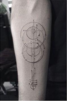 Elegant Fine Line Geometric Tattoos by Dr. Woo | Tattoo Inspiration #tattoo #geometric #drwoo