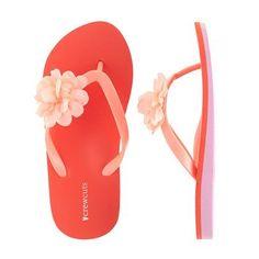 Girls Colorblock Floral Flip-Flops
