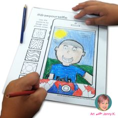 """Great art integration activity combining elements of drawing and writing for a contemporary, fun """"All About Me"""" lesson. Students draw their self portraits on an iPhone template to create a """"selfie"""" and then describe themselves via writing text messages."""