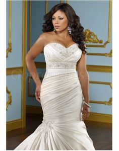 Mermaid satin Sweetheart applique Court Train plus size wedding dress picture 1