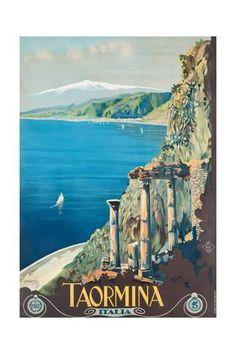 Vintage Travel Taormina Coast Of Sicily Italy Mount Etna Volcano Travel Vintage Poster Repro - Vintage Italian Posters, Poster Vintage, Vintage Travel Posters, Vintage Ads, Travel Ads, Travel And Tourism, Italy Vacation, Italy Travel, Taormina Sicily