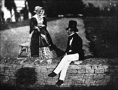 Lady L'Absinthe - 1835 William Henry Fox Talbot, Man and woman sitting on garden wall in Lacock Abbey.